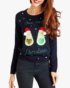Yumi Sparkly Avocado Christmas Jumper