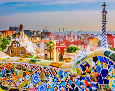 View of Barcelona from Colourful Bridge