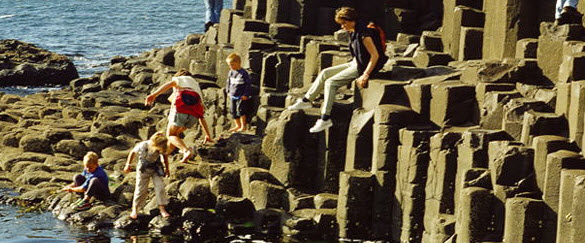 Family enjoying Giant's Causeway