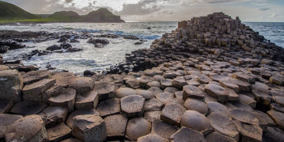 Giants Causeway on cloudy day