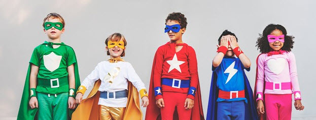 Kids dressed as Superheroes on Kids Cruise