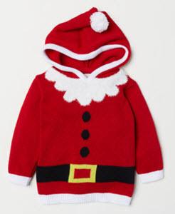 Kids Jacquard Knit Hooded Santa Jumper