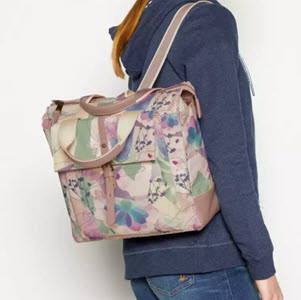 Mantaray Floral Coated Canvas Backpack