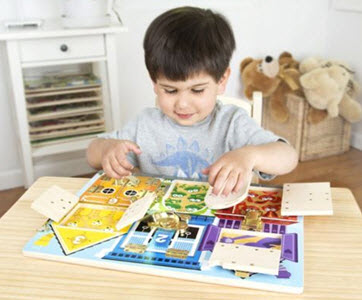 Children Playing with Melissa & Doug Latches Board