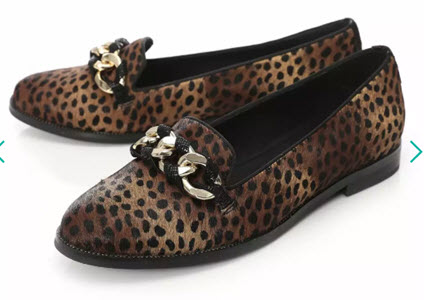 Moda In Pelle Leopard Print Loafers from Debenhams