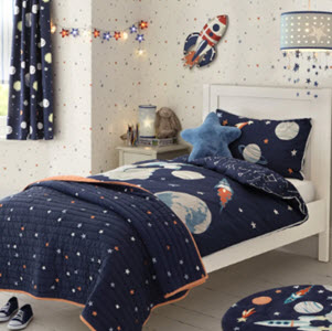 Outer space printed blue bedset from Laura Ashley