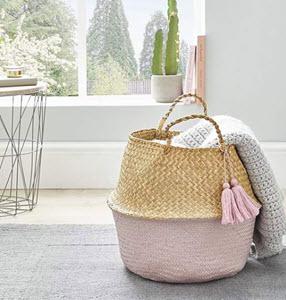Pink tassle storage basket from Dunelm
