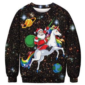 Women's Christmas Jumper - Santa Riding a Unicorn