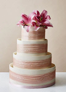 Pink Shimmering Hoop Wedding Cake from M&S