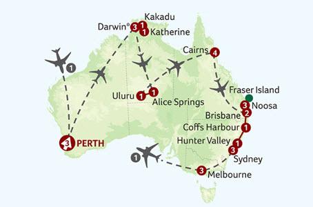 Titan Travel Grand Tour of Australia Map