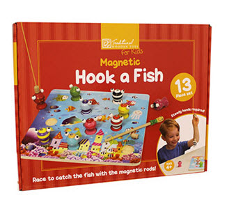 Wooden magnetic hook a fish game from The Works